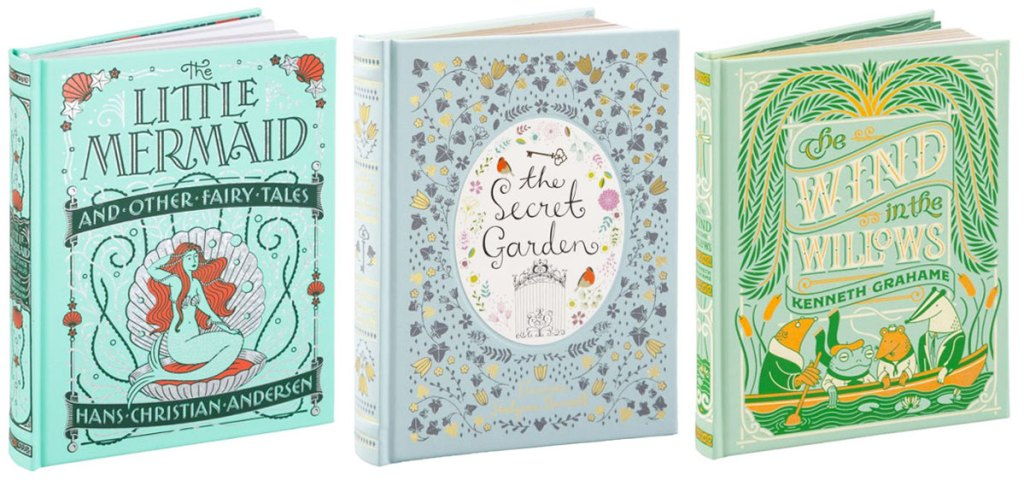 covers for the little mermaid, the secret garden, and the wind in the willows books