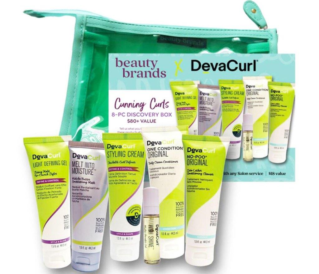 green makeup bag with devacurl samples