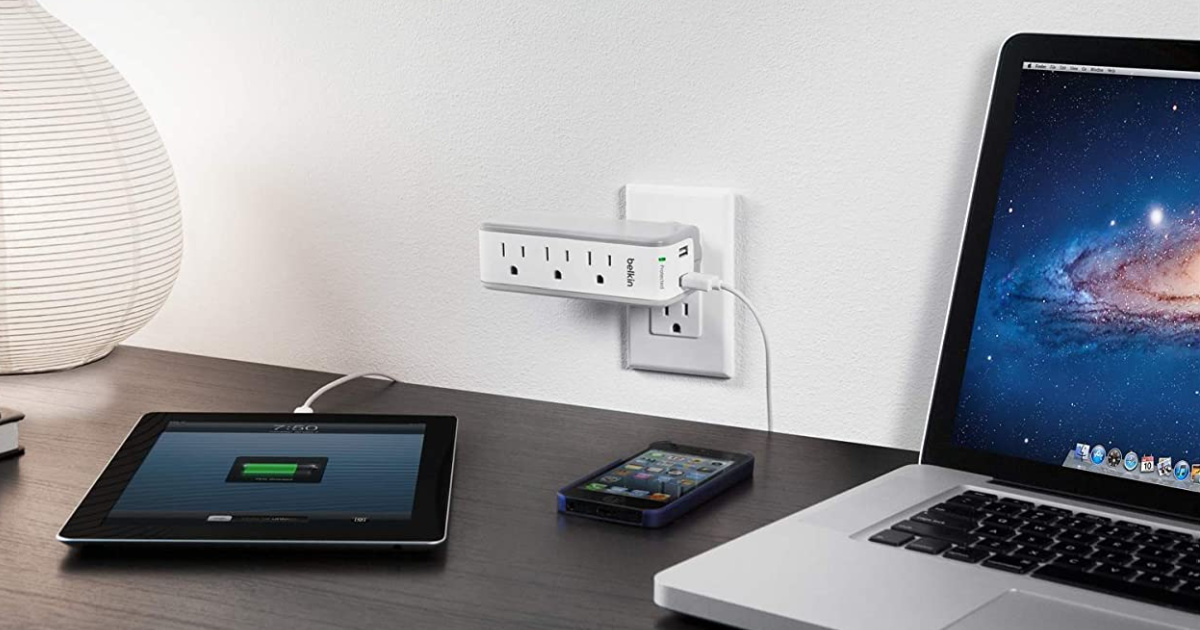 rotatable surge protector in wall outlet