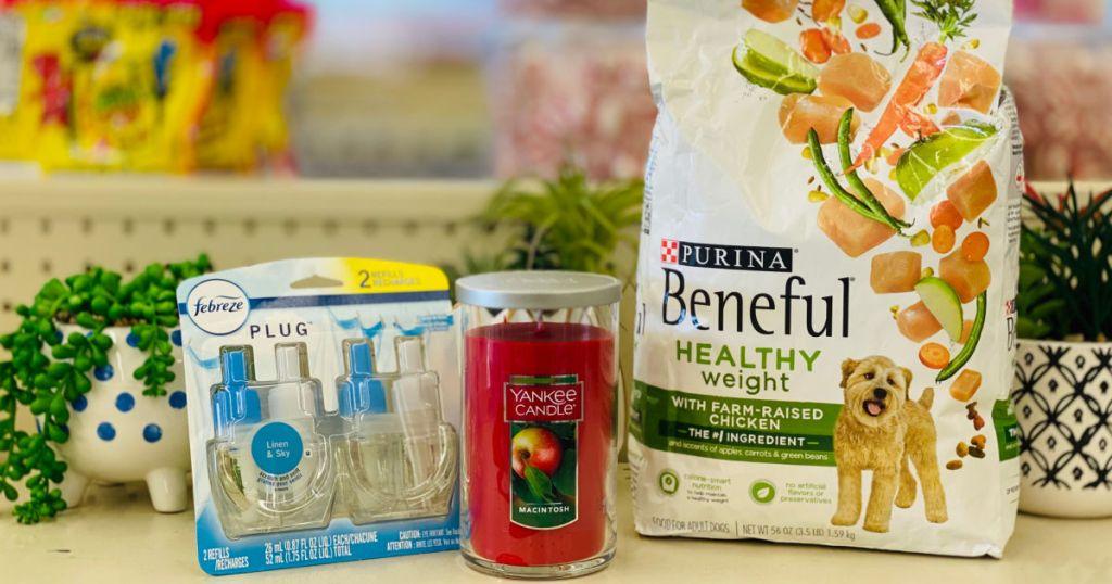 dog food candles and air freshener on shelf