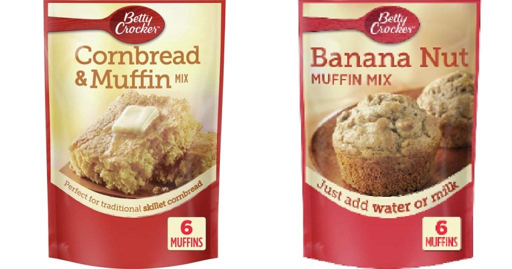 betty crocker muffin mix packs next to each other