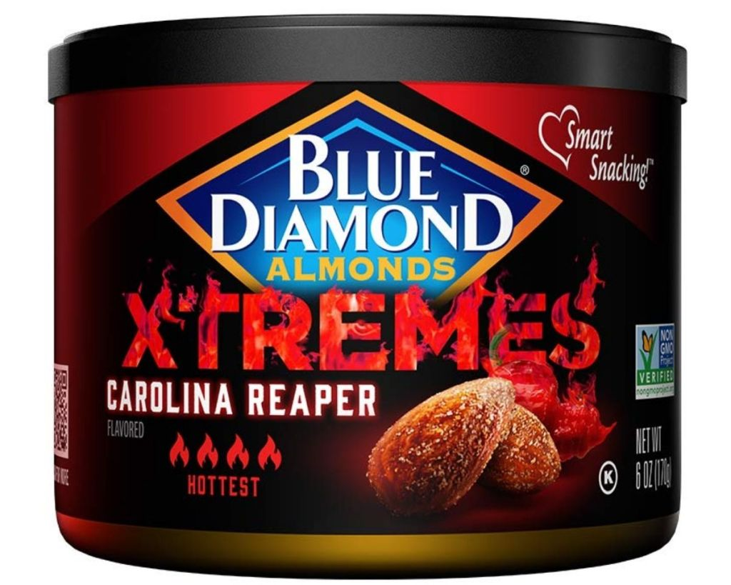 Can of Blue Diamond Almonds Xtremes CArolina Reaper