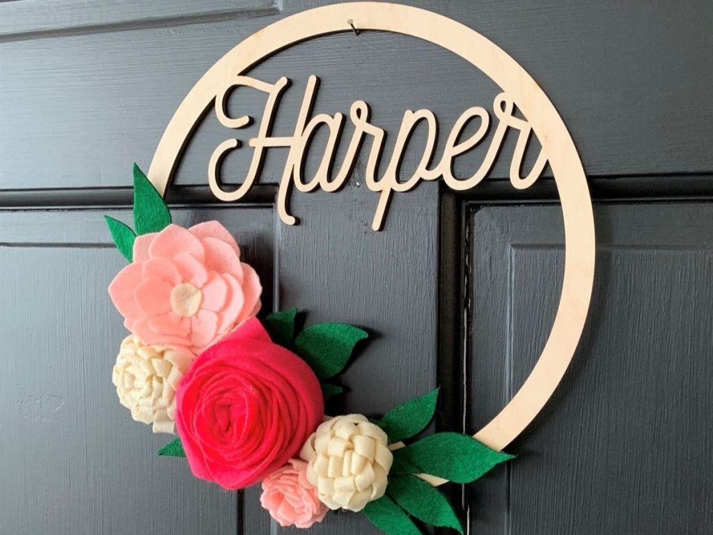Boho Personalized Flower Wreath