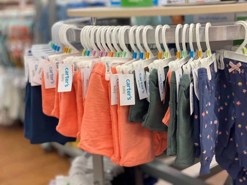 baby shorts on hangers