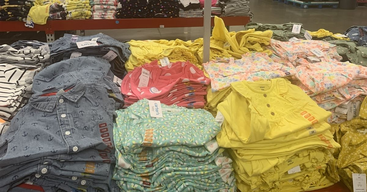 display of Carter's Rompers & Sunsuits at Sam's Club