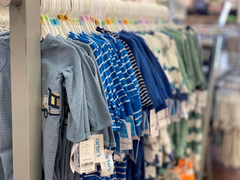 Carter's pajamas on hangers