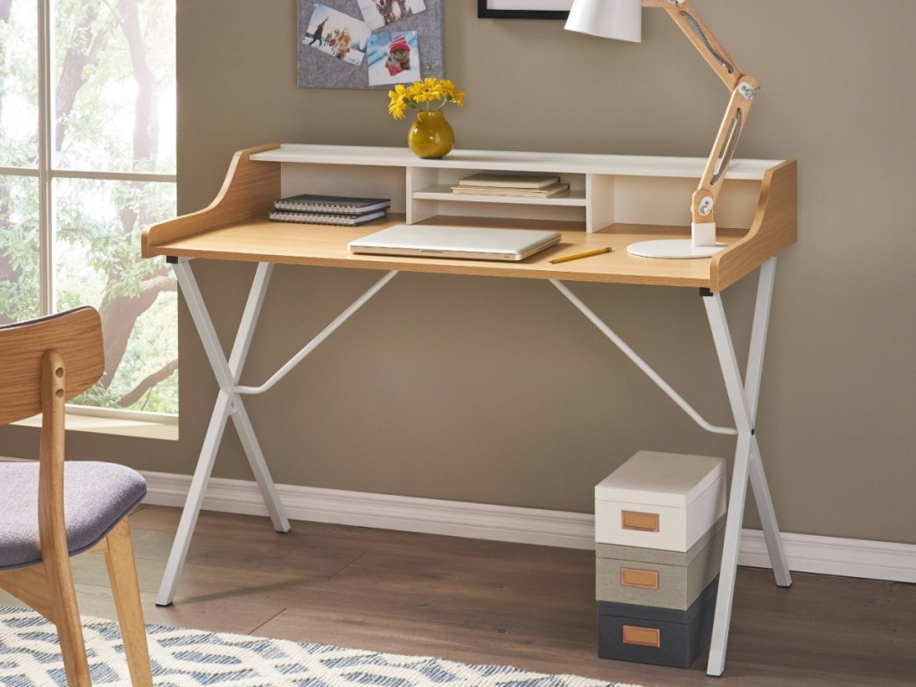 white and wood computer desk in home