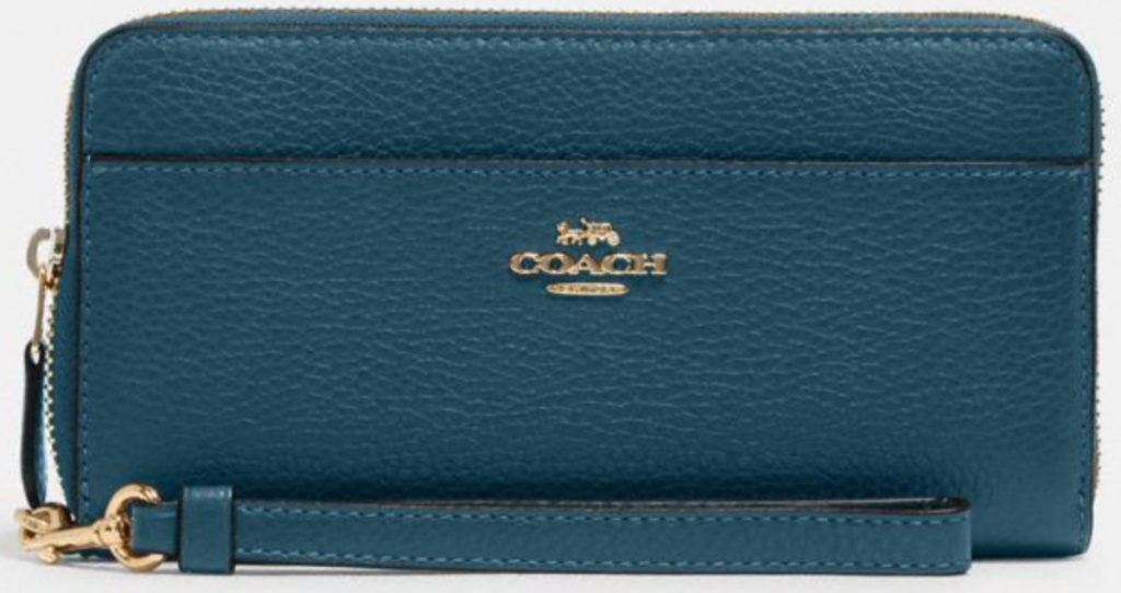 coach teal accordian wallet