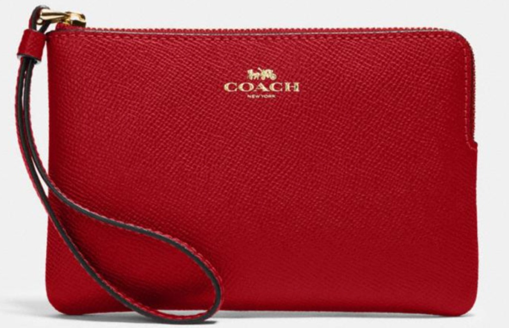 red coach wristlet wallet