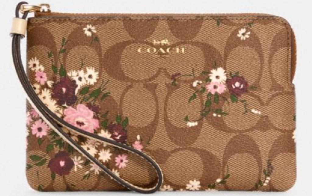 coach signature floral canvas wristlet