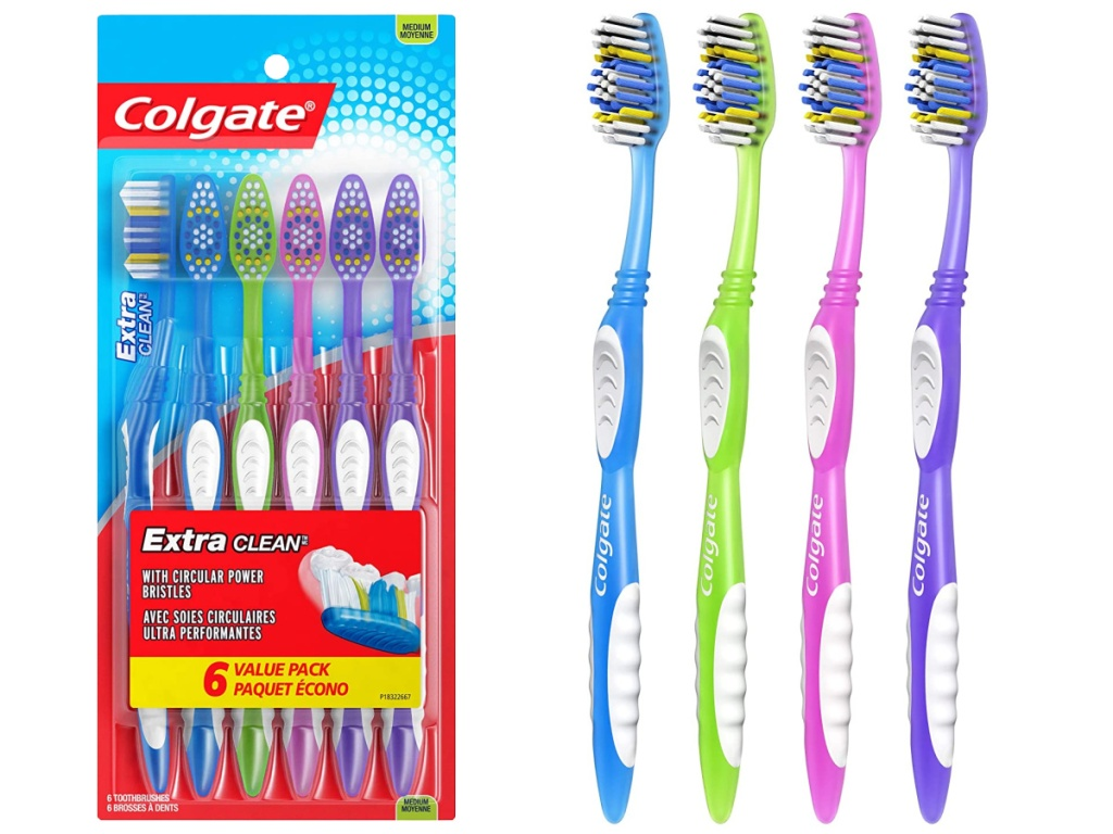 pack of six toothbrushes and four toothbrushes