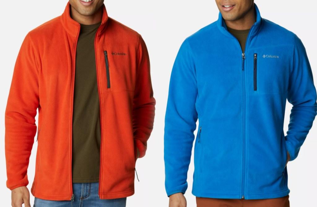 Two men wearing fleece jackets
