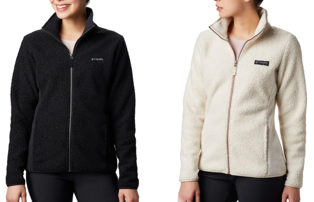 Two women wearing fleece jackets