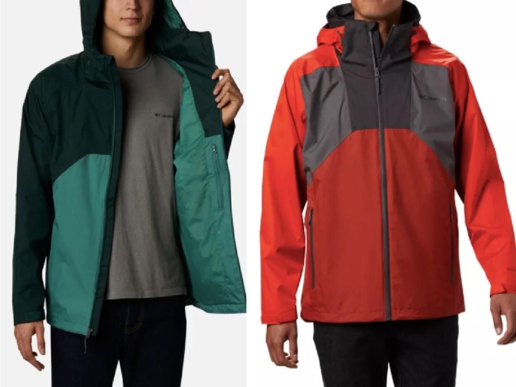 two men wearing Columbia red and green rain coats