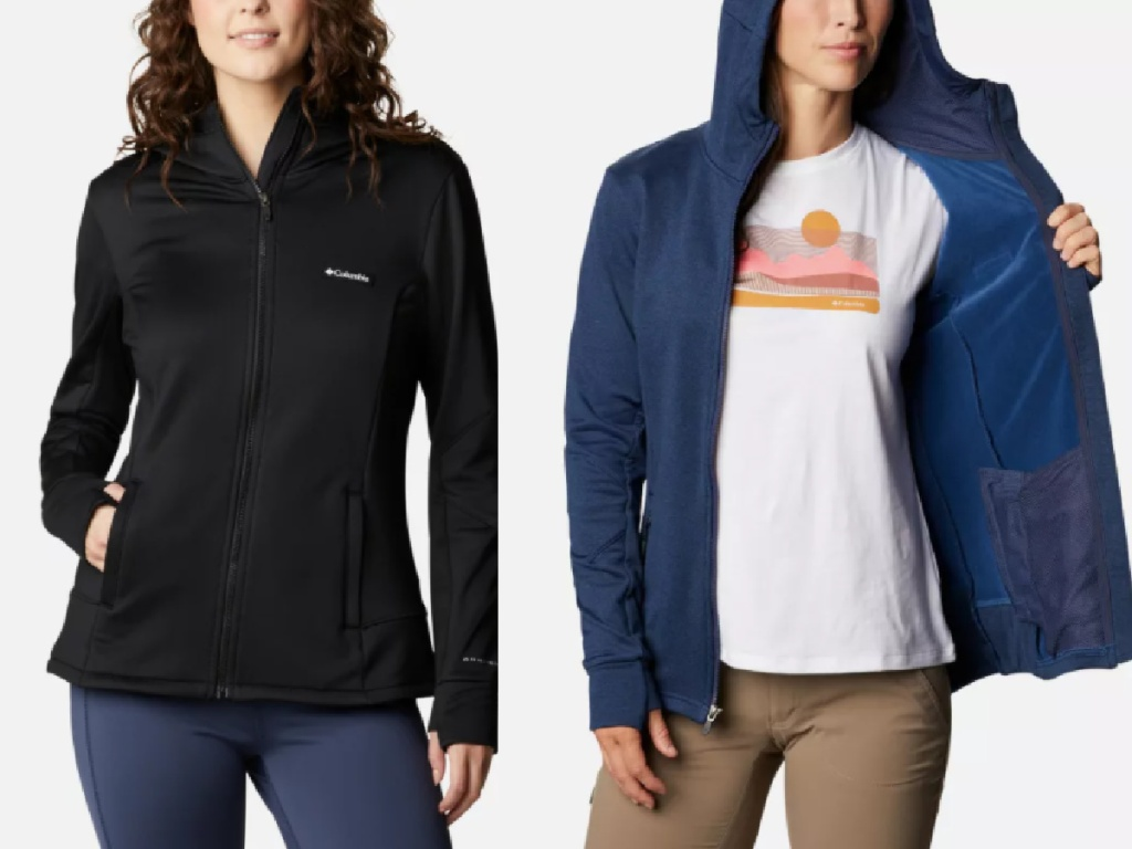two women wearing Columbia jackets