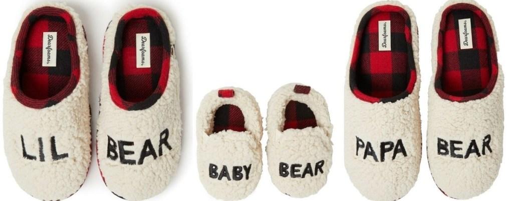 three pairs of slippers
