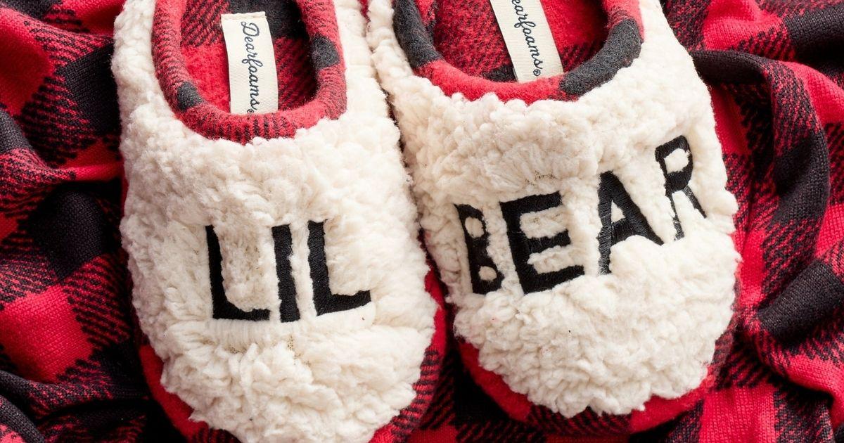pair of kids sherpa slippers