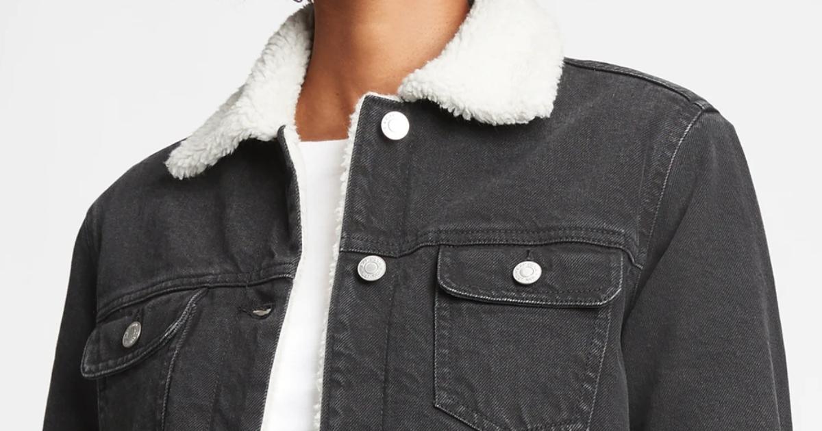 top portion of a women's denim sherpa jacket in black