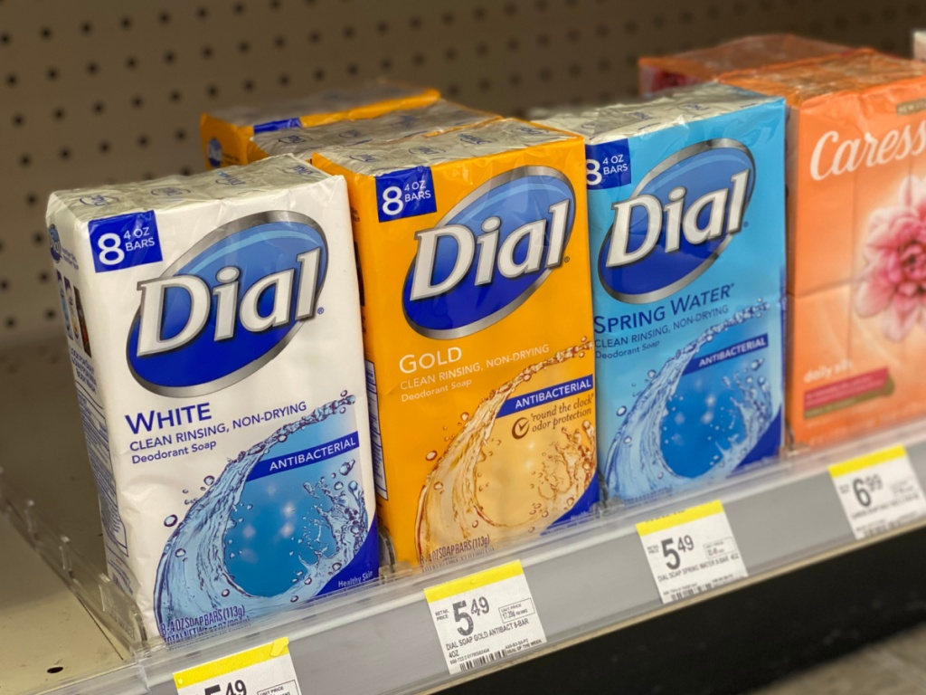 Dial Bar Soap on Walgreens shelf