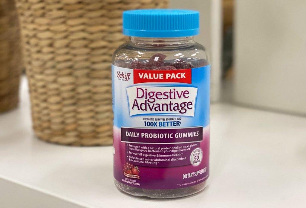 bottle of digestive advantage gummies on white table