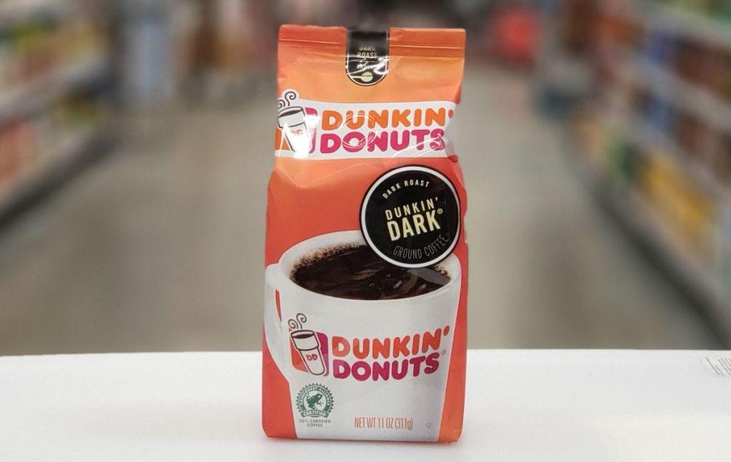 bag of Dunkin Dark Roast Coffee