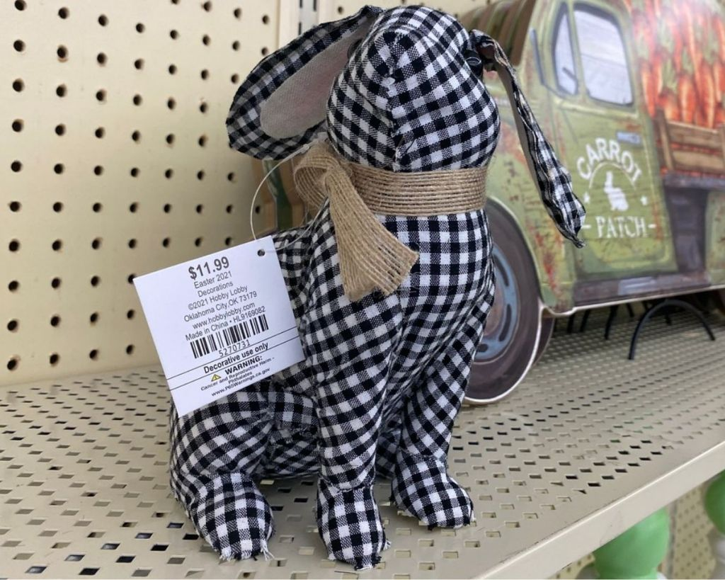 Easter Black and White Gingham Fabric Bunny