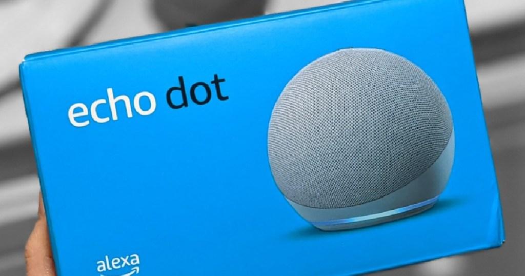 grey speaker in blue box