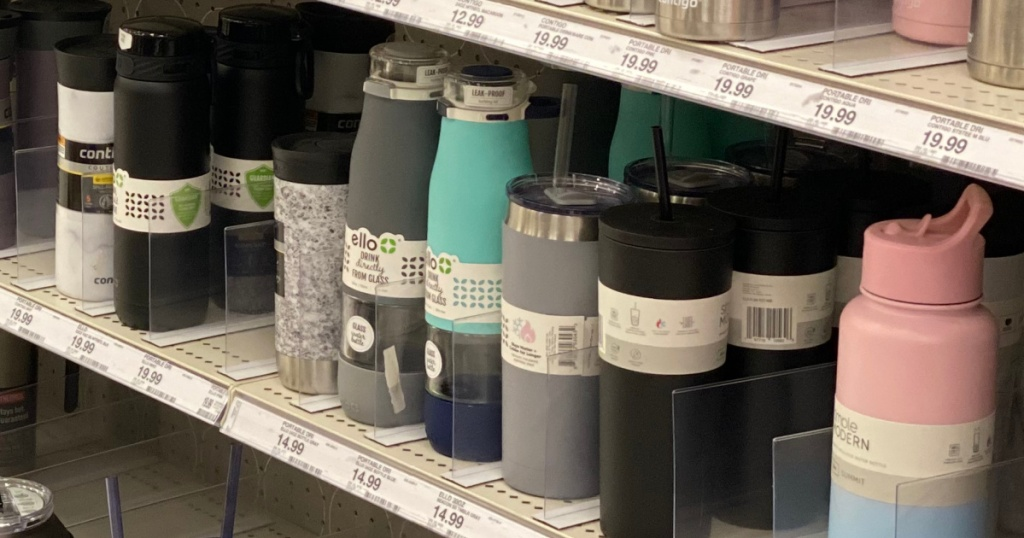 water bottles on shelf