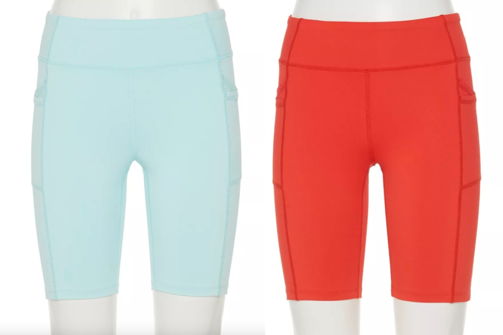 teal and coral FILA biker shorts