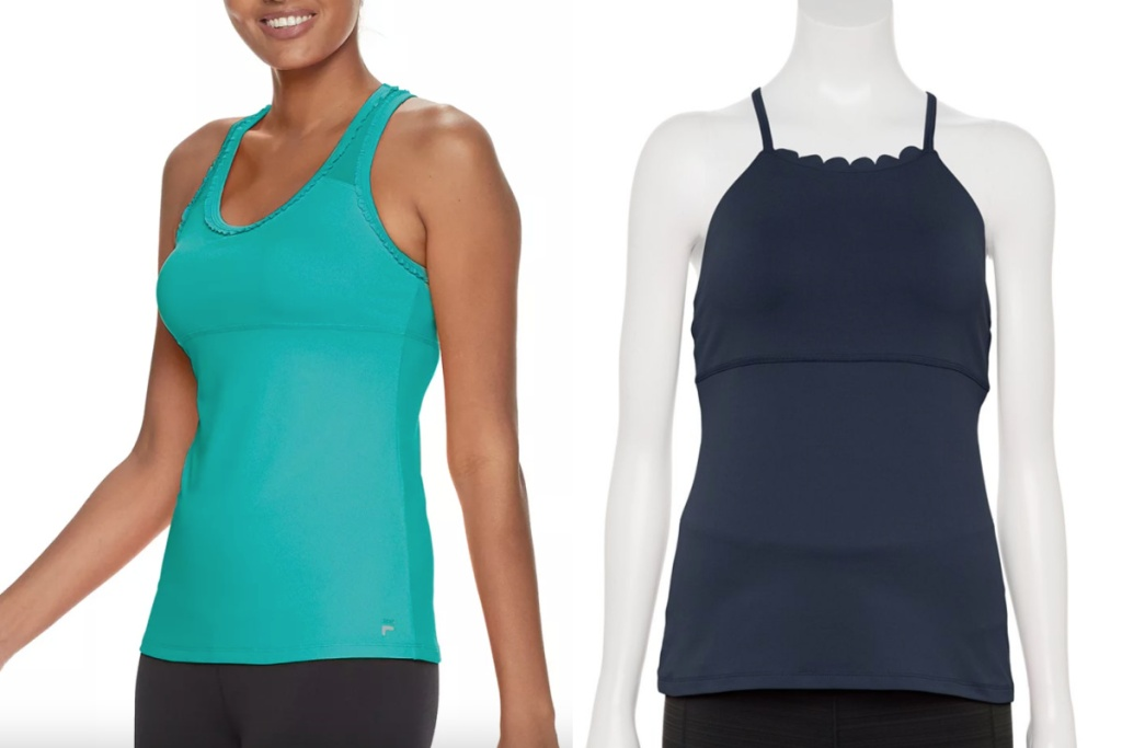 teal and navy FILA tanks