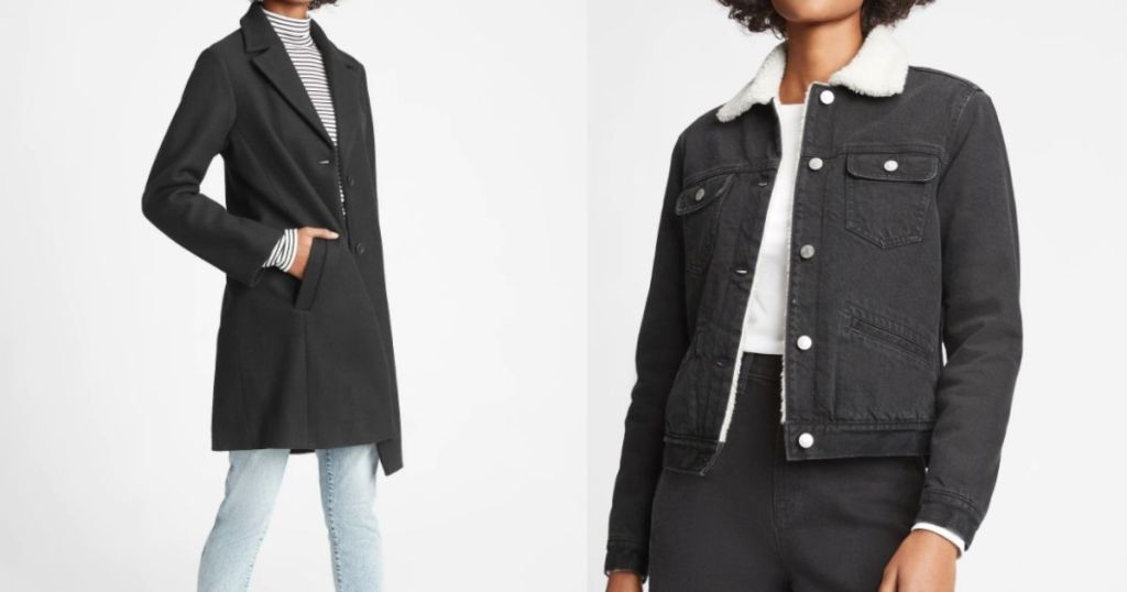 two women wearing black jackets