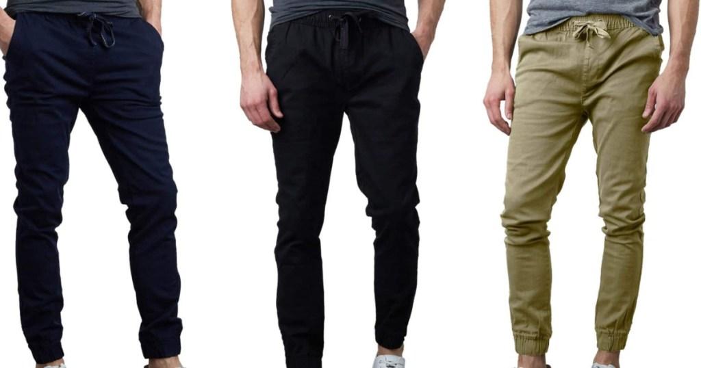 3 men wearing twill joggers