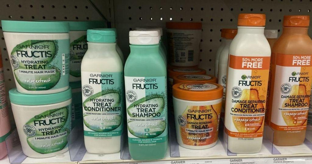 Garnier Fructis Treat Shampoo and Conditioner on shelf
