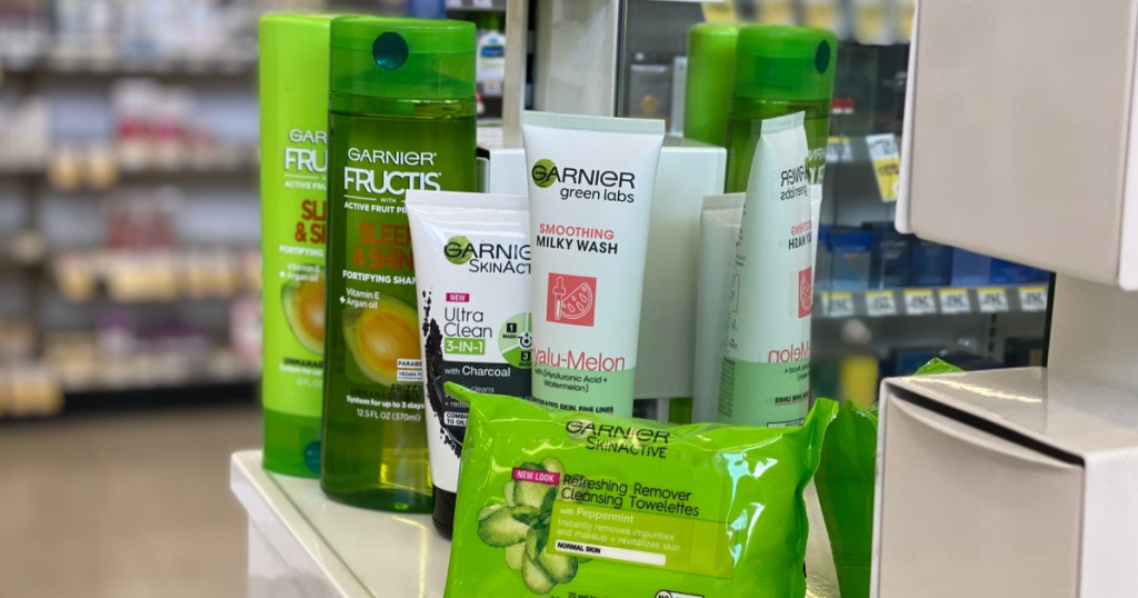 various shampoo and facial care products on shelf