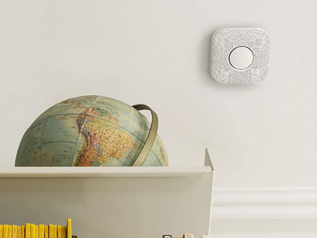 Google Nest Protect Smoke Alarm and Carbon Monoxide Detector on wall