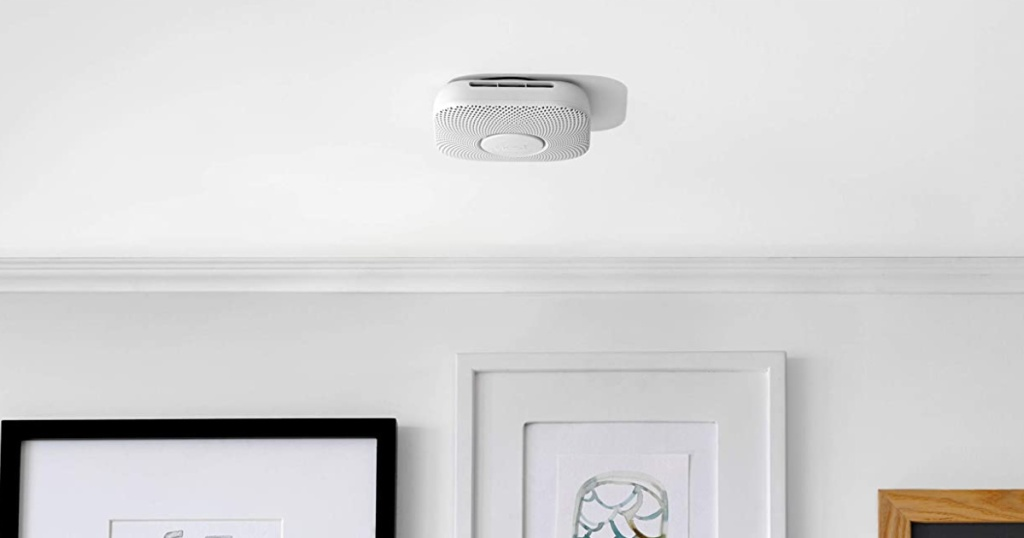 Google Nest Protect Smoke Alarm and Carbon Monoxide Detector on ceiling