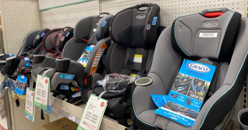 car seats on shelf