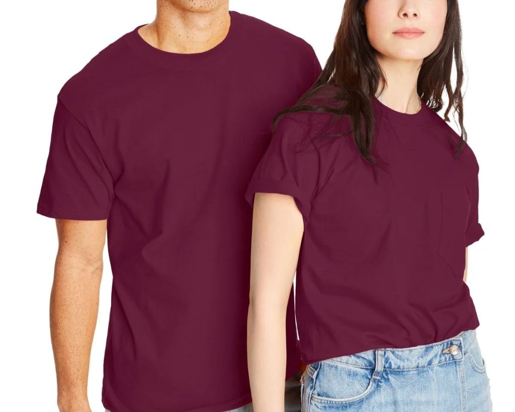 2 people wearing maroon Hanes Beefy-T Adult Tees