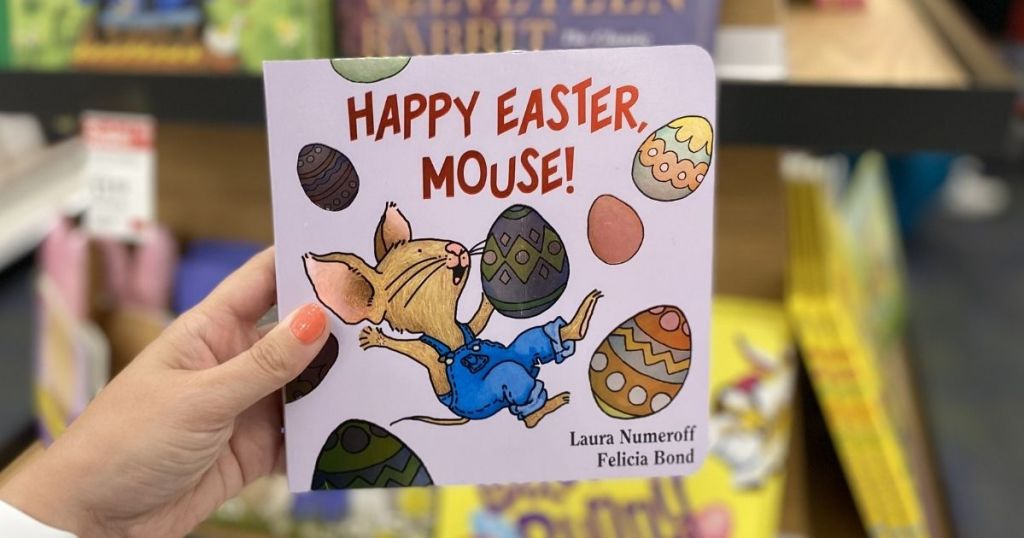 hand holding a Happy Easter, Mouse Book