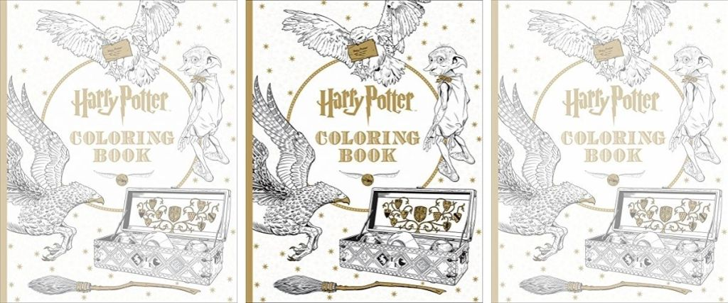 3 covers of Harry Potter Coloring Book