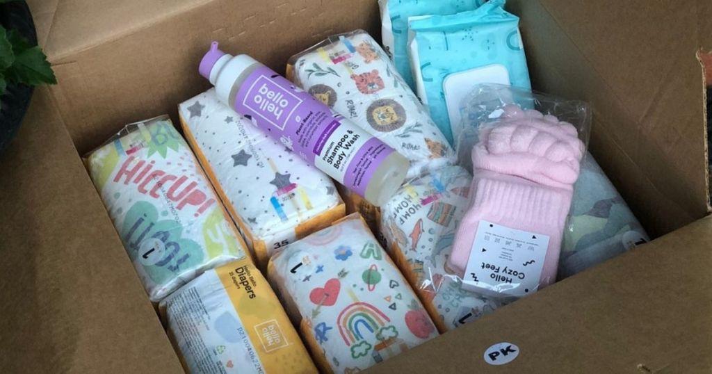 box of hello bello diapers bundle