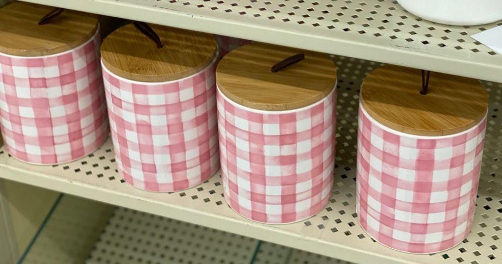 Hobby Lobby Easter Ceramic Canister w/ Wood Lid on shelf