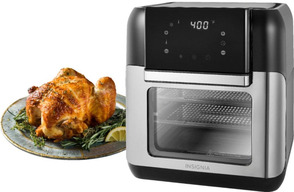 Insignia 10 Quart Digital Air Fryer next to a chicken