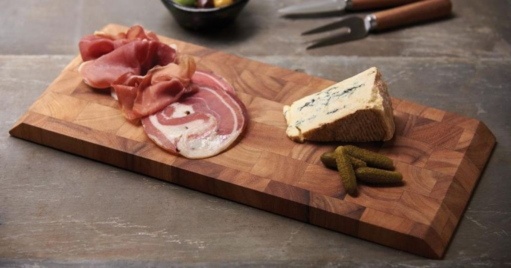 Ironwood Charcuterie End Grain Cheese Board with food