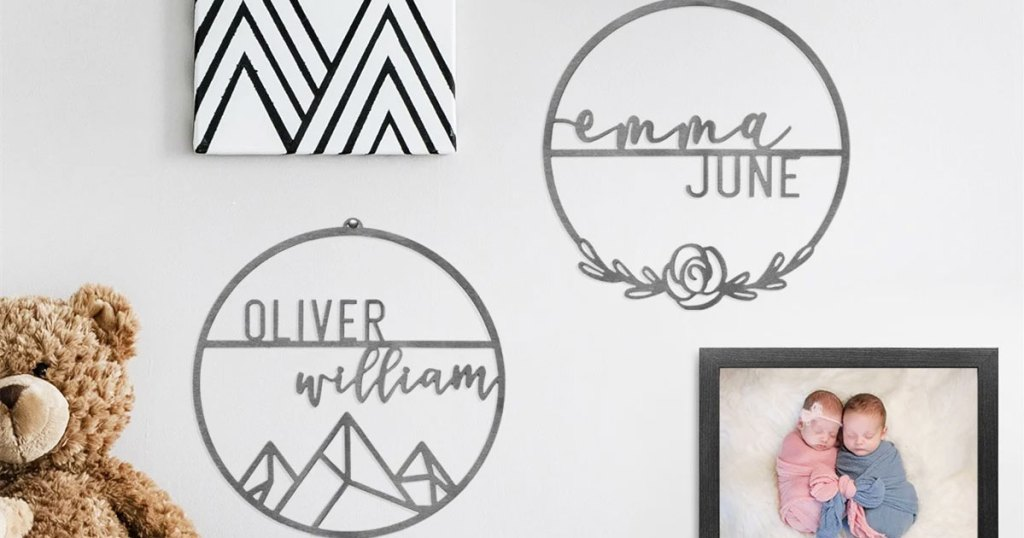 two round personalized signs on wall