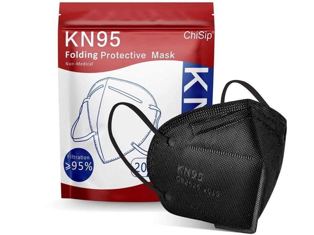 KN95 Black folding face mask and bag