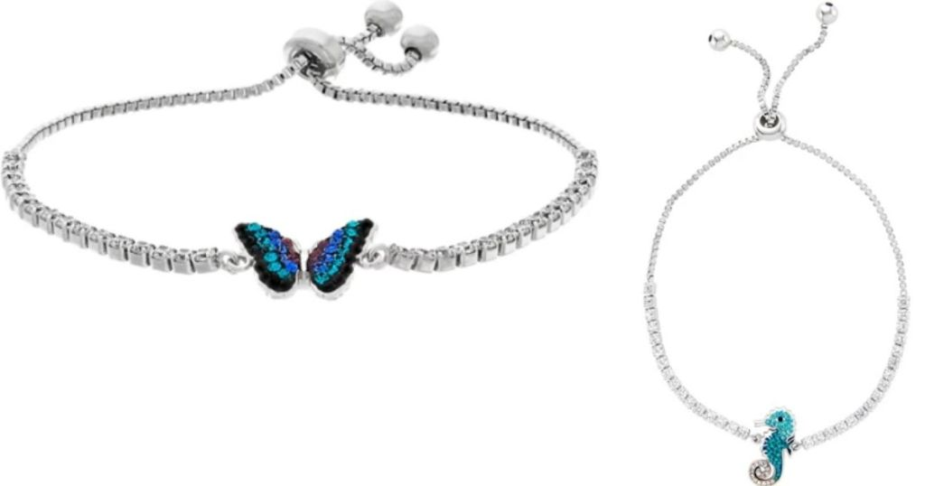 bracelet with a butterfly and bracelet with a seahorse