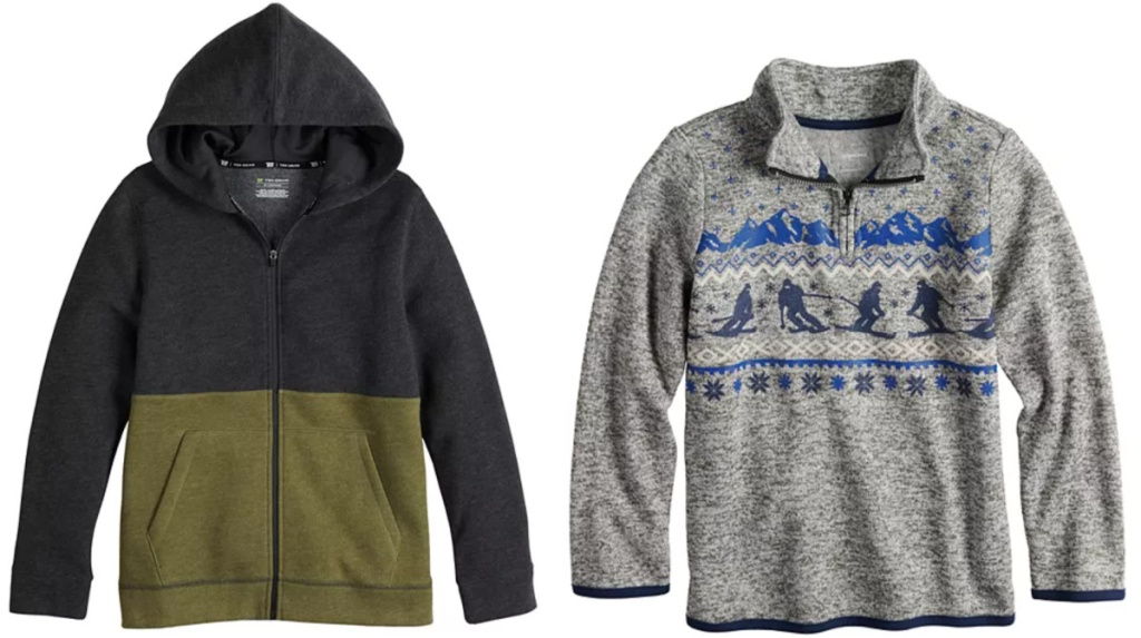 tek gear husky hoodie and sonoma zip up sweater