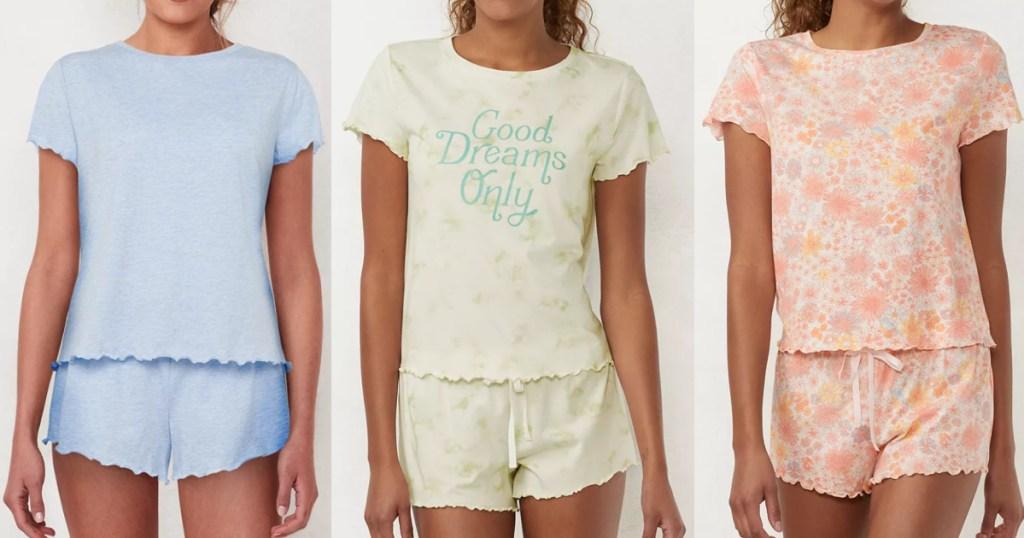 3 women wearing LC Lauren Conrad lettuce edge pajama sets