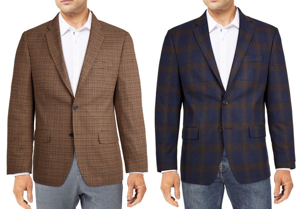two men in patterned blazers